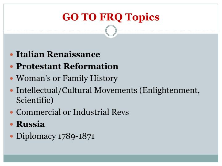 GO TO FRQ Topics