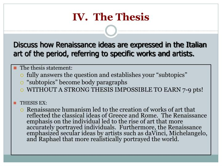 IV.  The Thesis