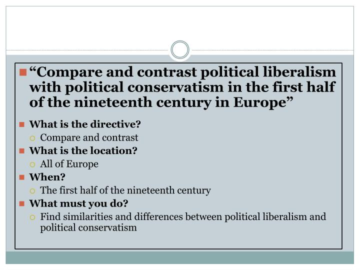 """Compare and contrast political liberalism with political conservatism in the first half of the nineteenth century in Europe"""