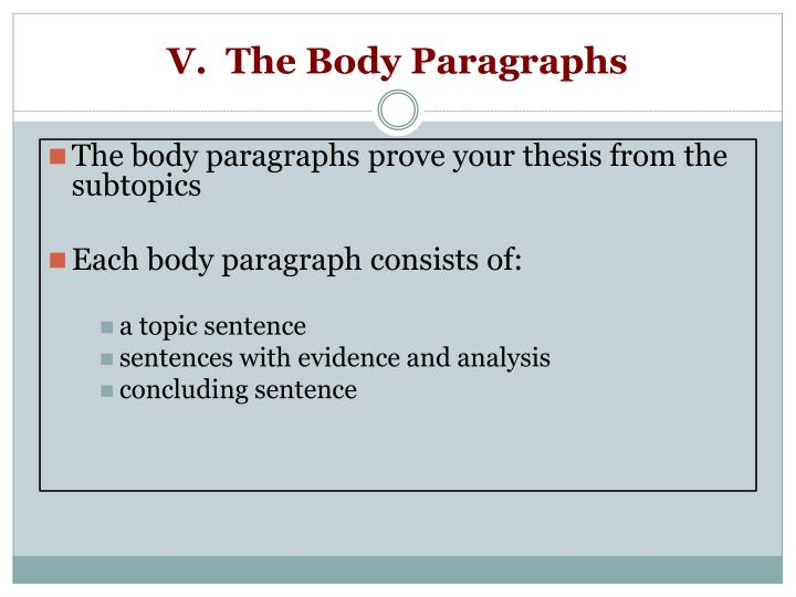 V.  The Body Paragraphs