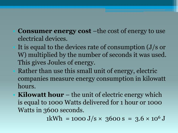 Consumer energy cost