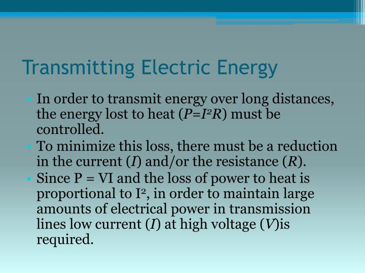 Transmitting Electric Energy