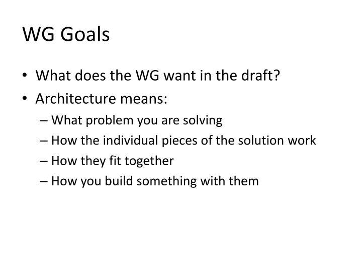 WG Goals