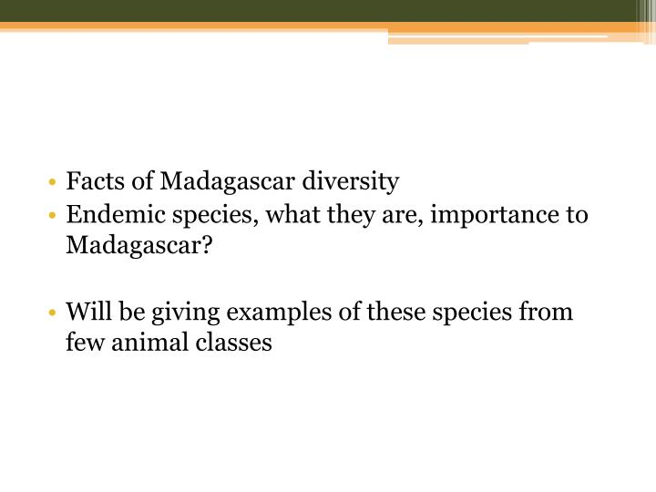 Facts of Madagascar diversity
