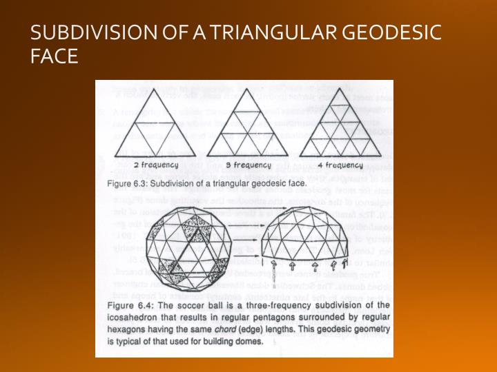 SUBDIVISION OF A TRIANGULAR GEODESIC FACE