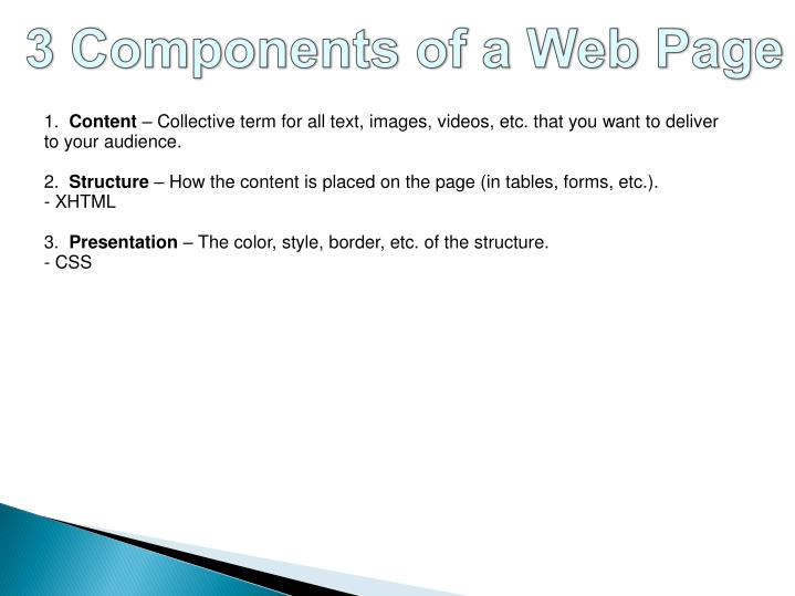 3 Components of a Web Page