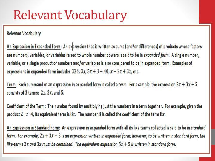 Relevant Vocabulary