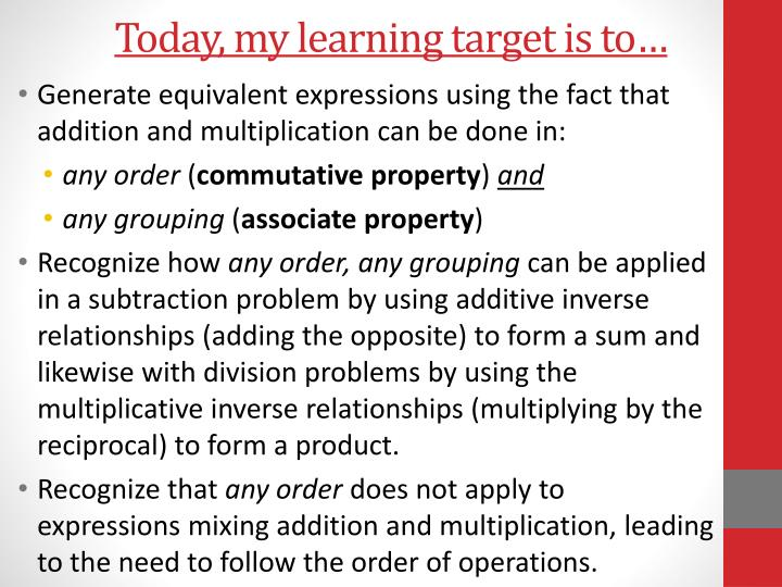 Today, my learning target is to…