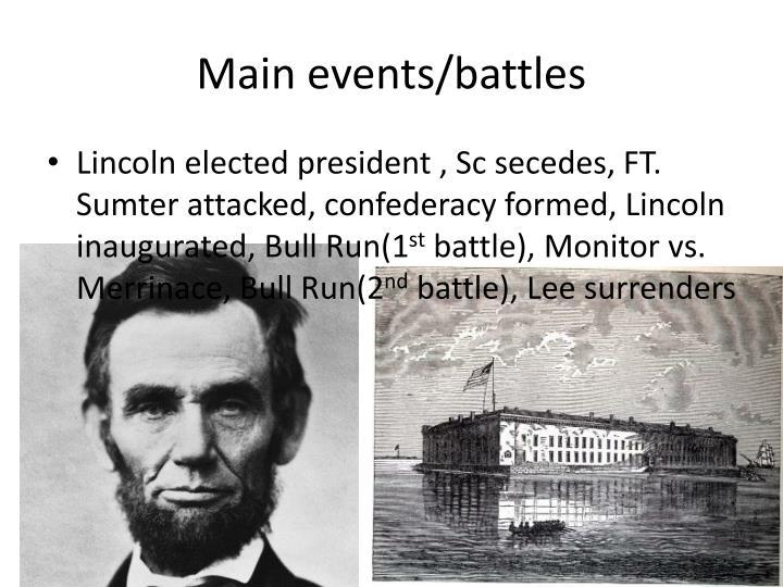 Main events/battles