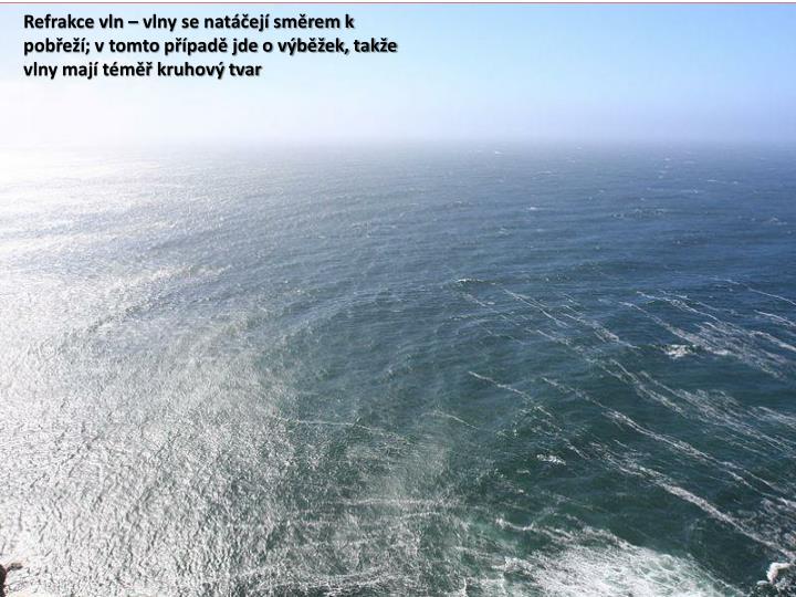 Refrakce vln  vlny se natej smrem k pobe; v tomto ppad jde o vbek, take vlny maj tm kruhov tvar