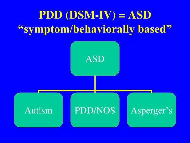 PDD (DSM-IV) = ASD