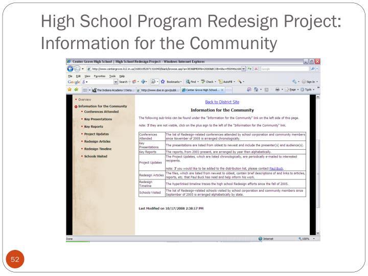 High School Program Redesign Project: