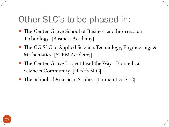 Other SLC's to be phased in: