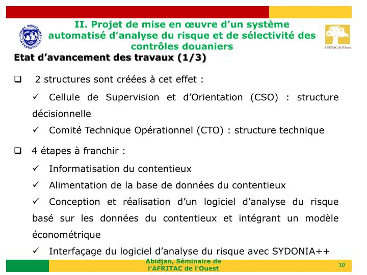 II. Projet de mise en œuvre d'un système automatisé d'analyse du risque et de sélectivité des contrôles douaniers
