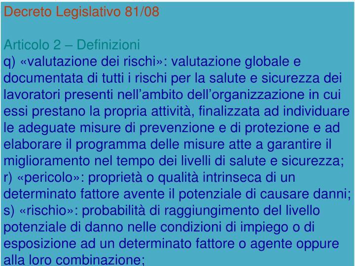 Decreto Legislativo 81/08