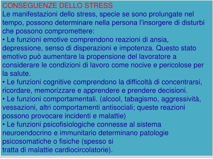 CONSEGUENZE DELLO STRESS