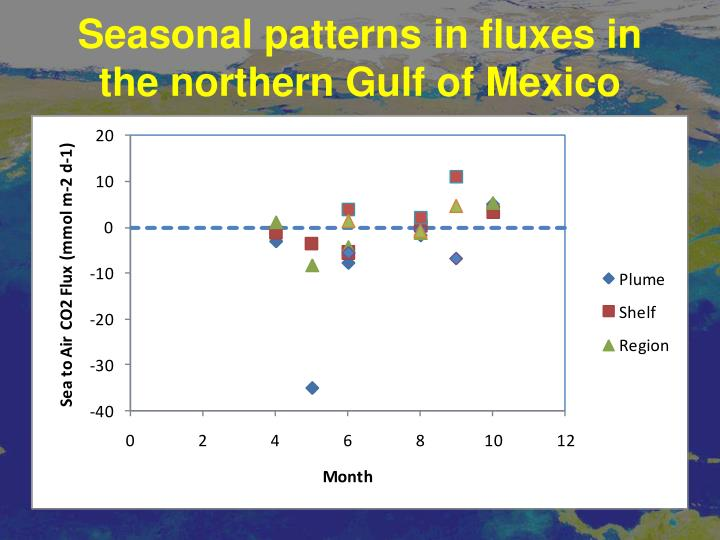 Seasonal patterns in fluxes in the northern Gulf of Mexico