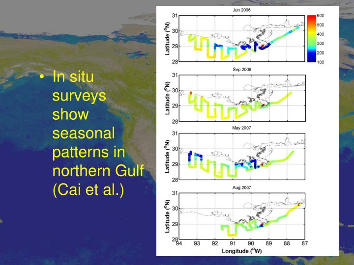 In situ surveys show seasonal patterns in northern Gulf (Cai et al.)