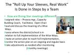 the roll up your sleeves real work is done in steps by a team