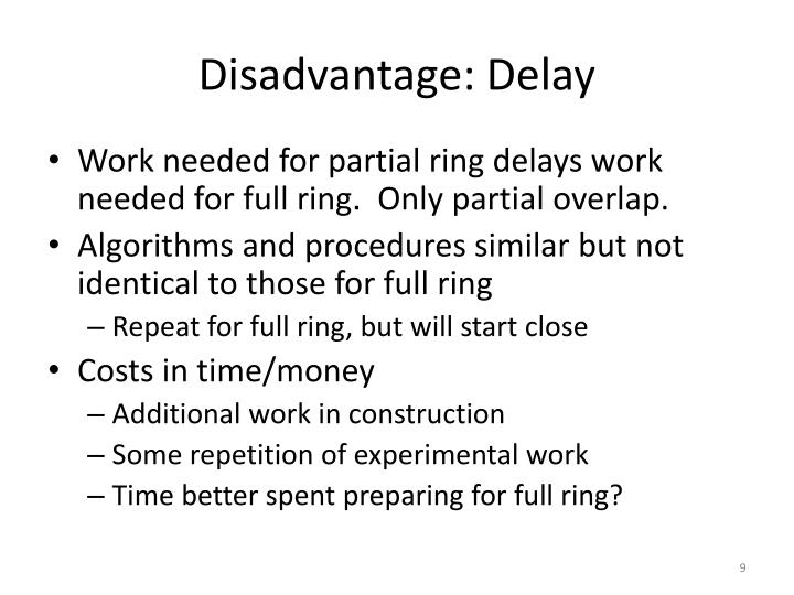 Disadvantage: Delay