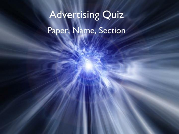 Advertising quiz