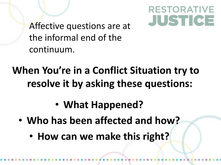 Affective questions are at the informal end of the continuum.