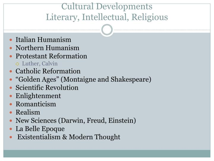 Cultural developments literary intellectual religious