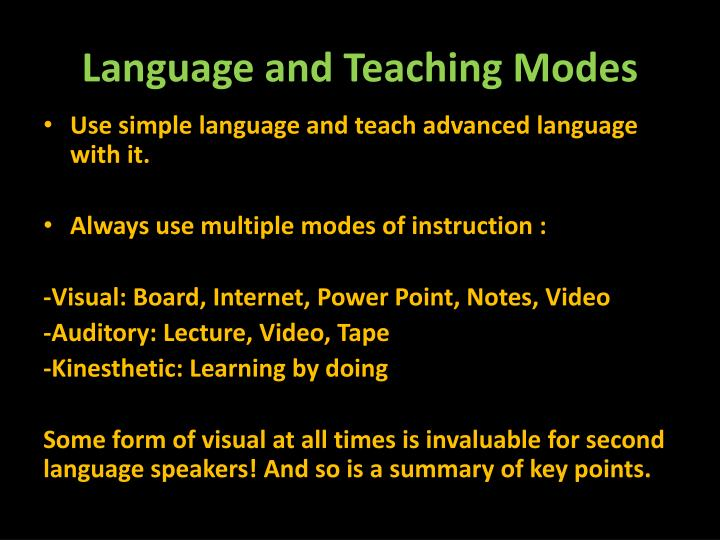 Language and Teaching Modes
