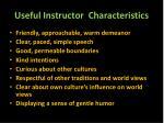 useful instructor characteristics