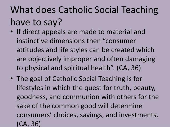 What does Catholic Social Teaching have to say?