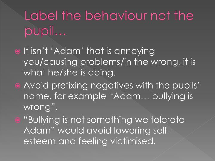 Label the behaviour not the pupil…