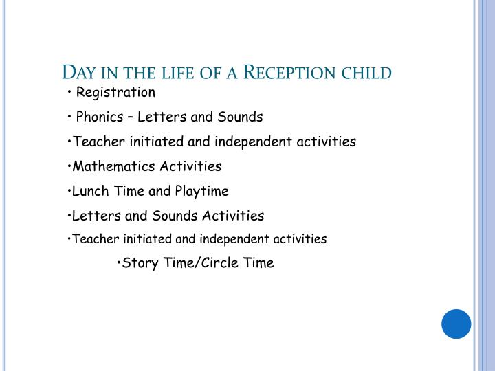 Day in the life of a Reception child