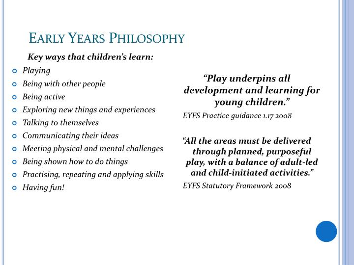 Early Years Philosophy