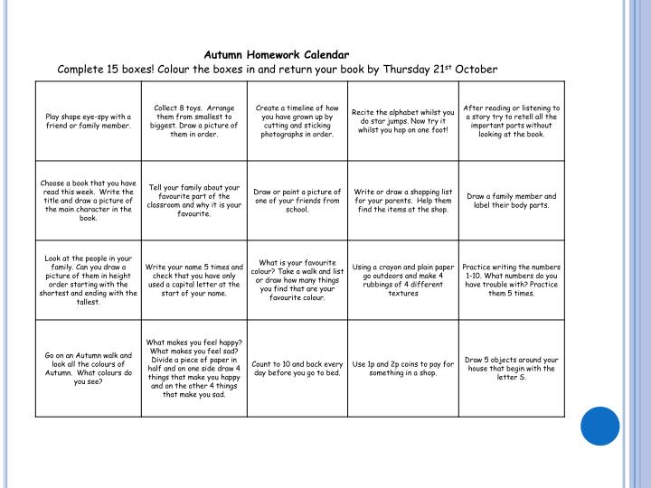 Autumn Homework Calendar