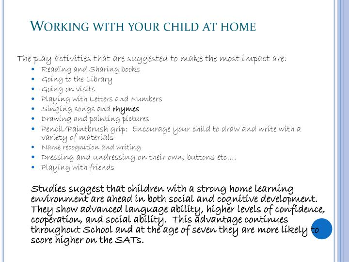 Working with your child at home