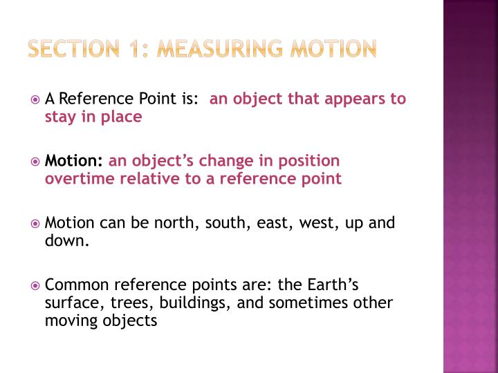 Section 1: Measuring Motion