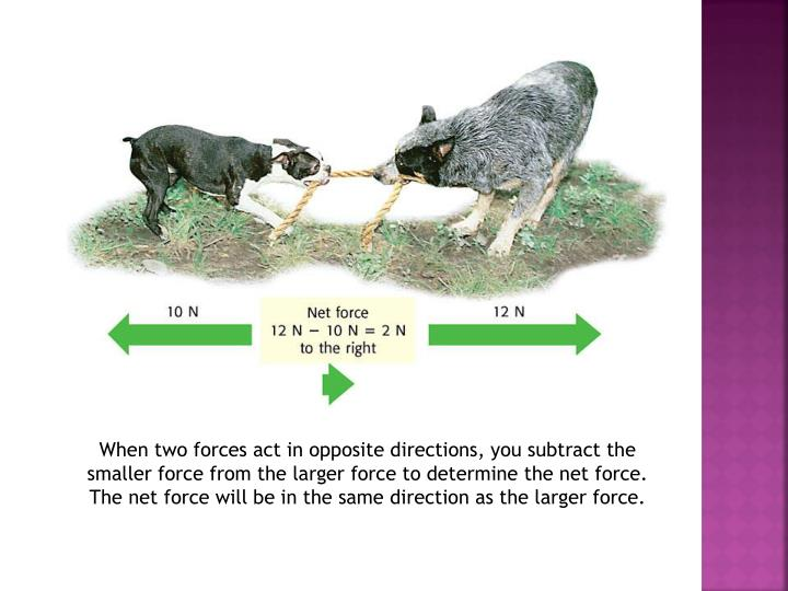 When two forces act in opposite directions, you subtract the smaller force from the larger force to determine the net force. The net force will be in the same direction as the larger force.