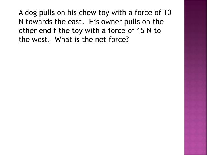 A dog pulls on his chew toy with a force of 10 N towards the east.  His owner pulls on the other end f the toy with a force of 15 N to the west.  What is the net force?