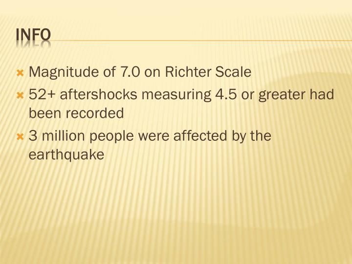 Magnitude of 7.0 on Richter Scale