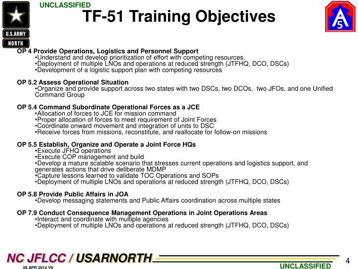 TF-51 Training Objectives