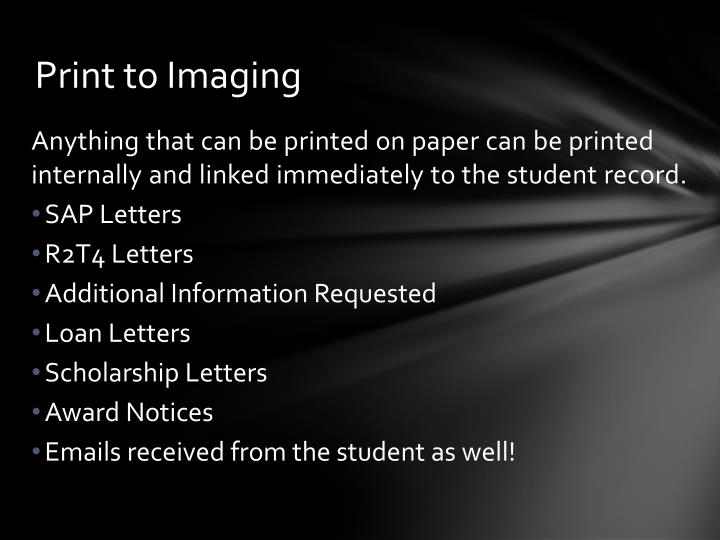 Print to Imaging