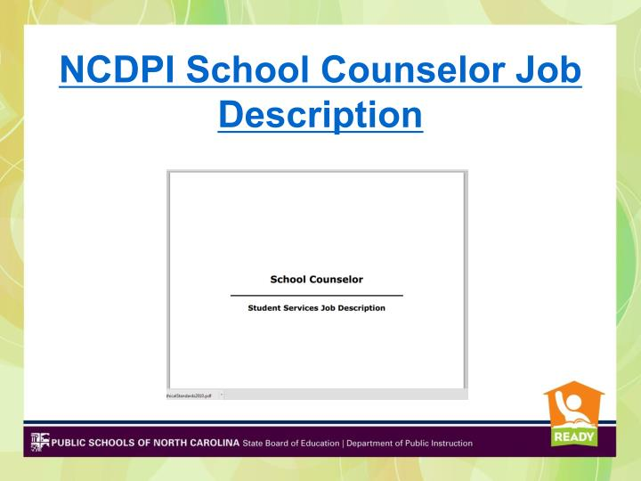 NCDPI School Counselor Job Description