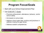 program focus goals