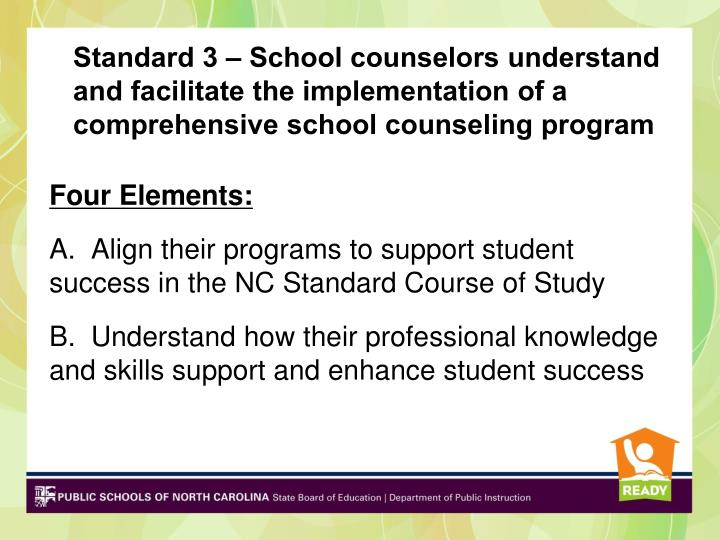 Standard 3 – School counselors understand and facilitate the implementation of a comprehensive school counseling program