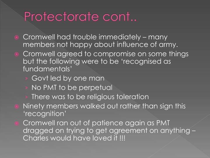 Protectorate cont..