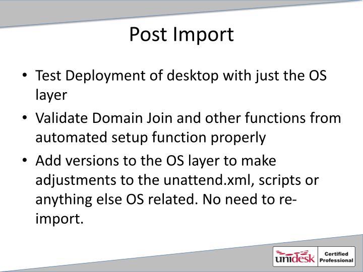 Post Import