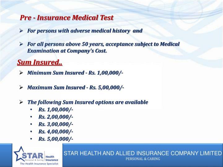 Pre - Insurance Medical Test