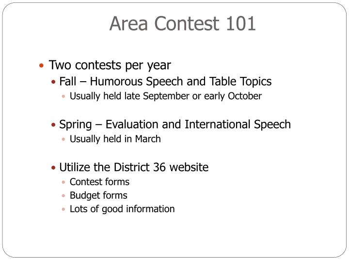 Area Contest 101