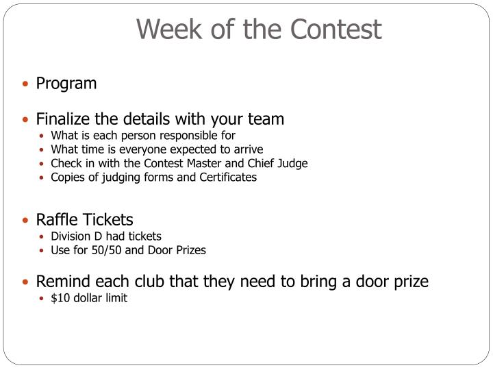 Week of the Contest