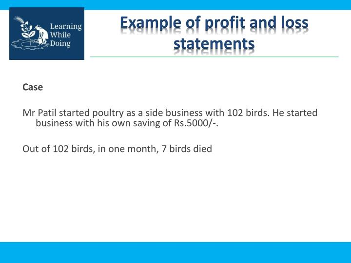 Example of profit and loss statements